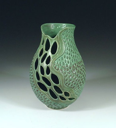 Jade Waterfall 2 - SOLD - Jar with Piercings