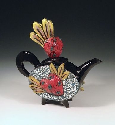 Love Triangle - SOLD - Teapot with Hearts
