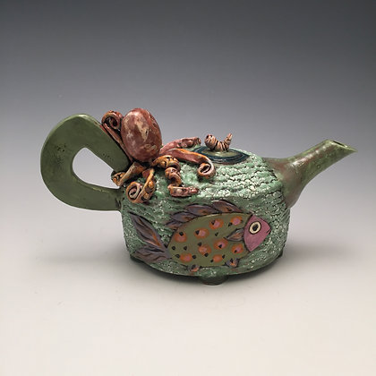 Ocean Friends - SOLD - Teapot with Octopus and Fish