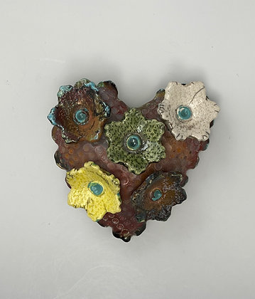Raku Heart, Wall Art, Front View, Lilia Venier Ceramics