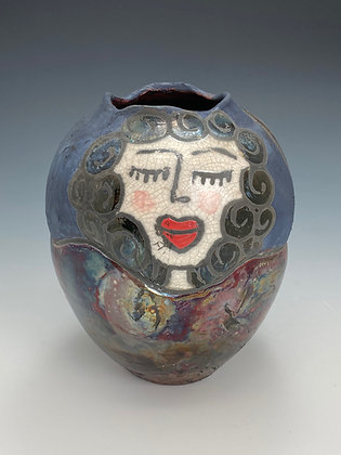 Las Tias, Vase with Girl, Front View, Lilia Venier Ceramics