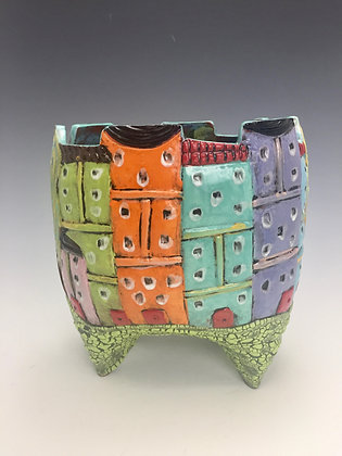 Tuscany VII - SOLD - Creative Arts Group, Sierra Madre - Vase with Buildings