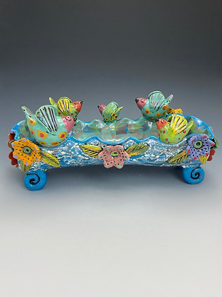 Resting Place, Bowl with Birds and Flowers, Front View, Lilia Venier Ceramics