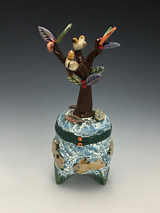 Summer Fun, Bunnies, Birds, Tree Jar, Front View, Lilia Venier Ceramics