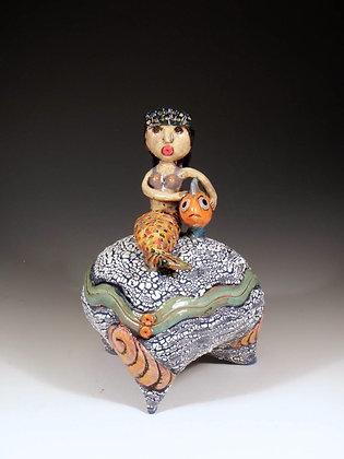 Mermaid and Fish - SOLD - Jar with Mermaid and Fish