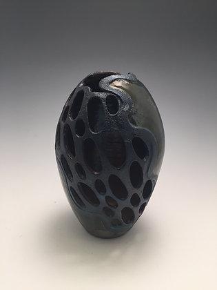 Raku Pierced Vase - SOLD