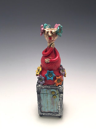 Lady in Red - SOLD - Box with Woman and Flowers