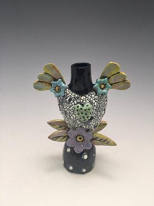 Spring Love II - SOLD - Vase with Heart, Flowers, Wings