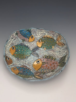 """Meeting Point"" - SOLD, Artful Home -  Platter with Fish"