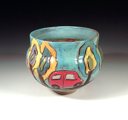 Out for a Drive- SOLD  - Bowl with Car and Trees