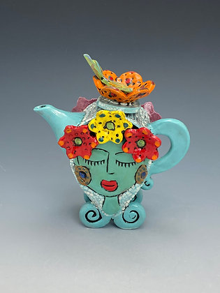 In Love, Teapot with Girls and Flowers, Front View, Lilia Venier Ceramics