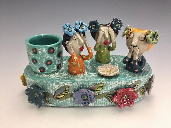 """Hear, See, Speak No Evil"" - SOLD - Artful Home - Vase with Women"