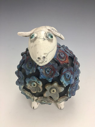 """Molly""  - SOLD OUT, Artful Home - Blue Sheep with White Head Raku Sculpture"