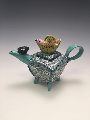 """Expecting"" - SOLD -Teapot with Bird and Nest - Dan Miller Jewelry, Laguna Beach"