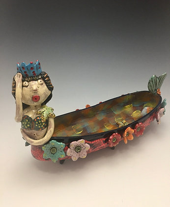 """Queen of the Pacific"" - SOLD - Tray with Mermaid and Flowers"