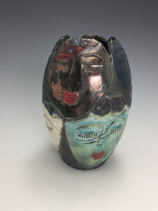 Raku Vase with Faces - SOLD