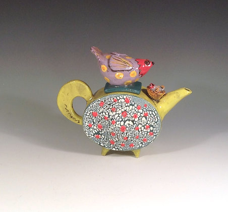 Momma Bird - SOLD - Teapot Bird and Nest