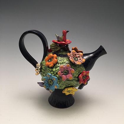 Hummingbird Teapot - SOLD - Teapot with Bird and Flowers