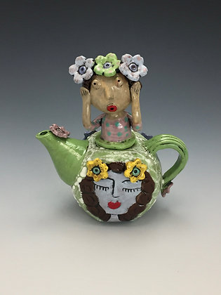 I Don't Want to Hear It, Girl, Teapot Front View, Lilia Venier Ceramics