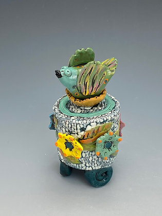 Expectation, Jar with Bird and Flowers, Front View, Lilia Venier Ceramics
