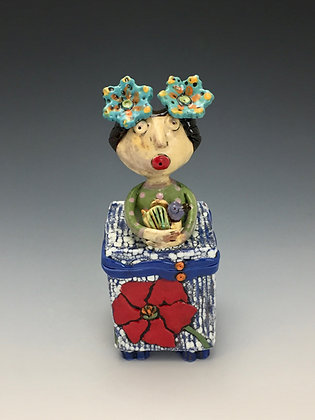 Teresa with Pet, Girl, Bird, Box, Front View, Lilia Venier Ceramics