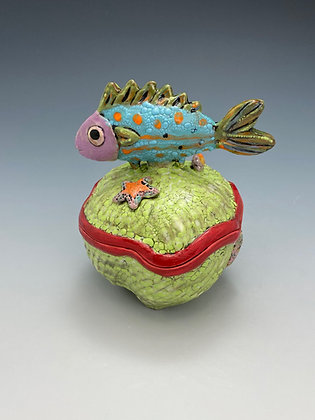 Tropical Fish, Jar With Fish, Front View, Lilia Venier Ceramics