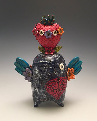 Soaring Love - SOLD - Jar with Hearts and Wings