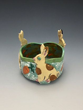 Three Bunnies, Bunny Bowl, Front View, Lilia Venier Ceramics