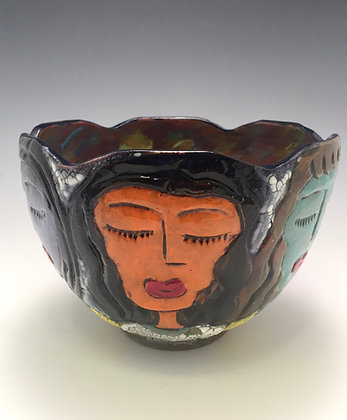Club Friends - SOLD - Bowl with Women's Faces
