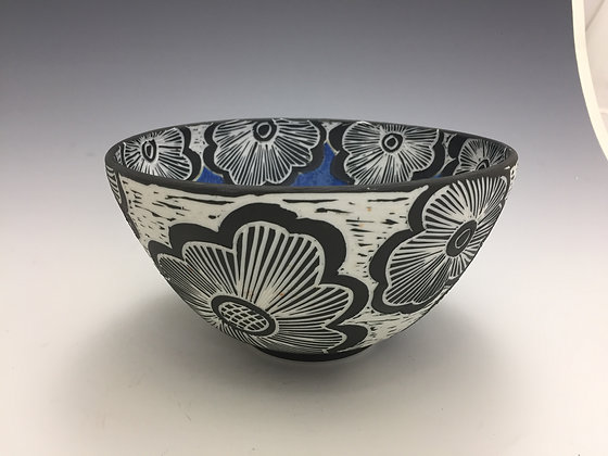 Blue Bowl with Flowers - SOLD