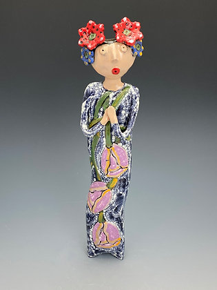 Doll with Orchid, Wall Art, Front View, Lilia Venier Ceramics