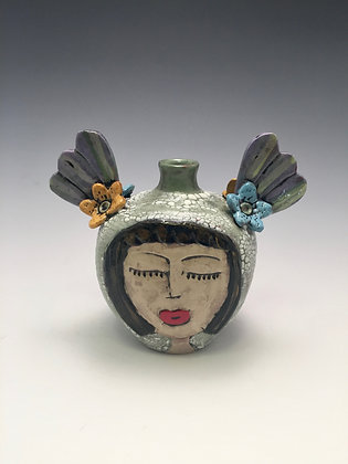 Hermanas - SOLD - Bottle with Women's Faces and Wings