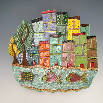 Sorrento, Platter with Buildings and Fish, Front View, Lilia Venier Ceramics