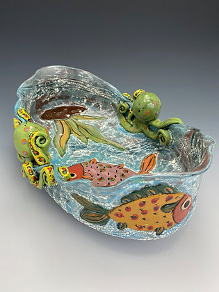 On the Tropical Reef, Octopus and Fish Bowl, Front View, Lilia Venier Ceramics