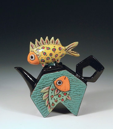 Fishes, Fishes - SOLD - Teapot Pentagon with Fish