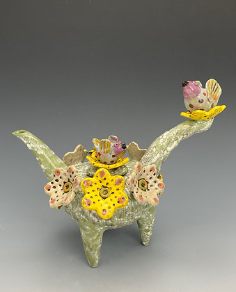 Fuzzy Partners, Teapot with Bird and Flowers, Front View, Lilia Venier Ceramics