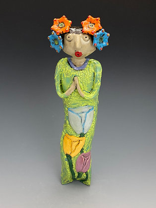 Doll with Tulips, Wall Art, Front View, Lilia Venier Ceramics