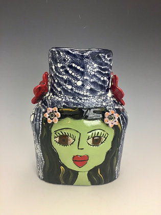 """Lola and Candy"" -  SOLD - Artful Home - Vase with Women's Faces"
