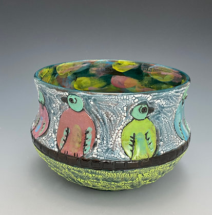 Birdies, Bowl with Birds, Front View, Lilia Venier Ceramics