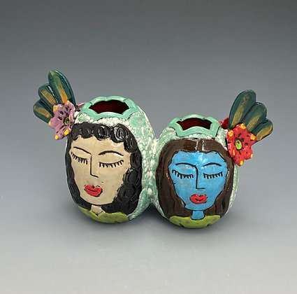 Lisa and Chloe, Vase with Girls, Front View, Lilia Venier Ceramics