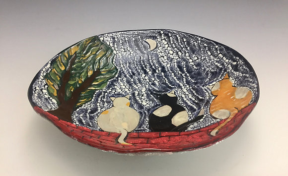 """Moonlight Serenade"" - SOLD - Artful Home -  Bowl with Cats and Moon"