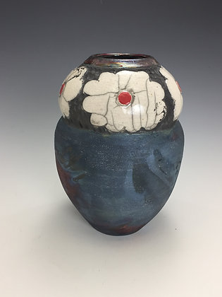 Daisy Raku Flower Vase - SOLD - Artful Home - Vase with Daisy