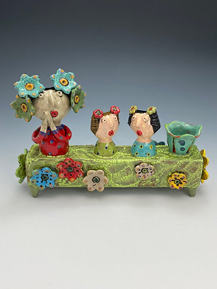 My Lovely Daughters, Vase with Mom and Daughters, Front View, Lilia Venier Ceramics