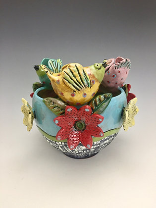 """Spring Celebration II"" - SOLD - Bowl with Birds and Flowers"