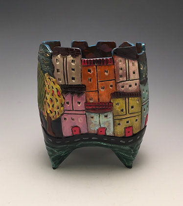 Tuscany - SOLD - Vase with Buildings