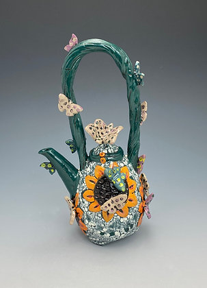 Butterflies, Teapot with Butterflies, Front View, Lilia Venier Ceramics