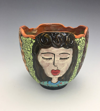 """Classmates""- SOLD - Artful Home - Bowl with Four Women's Faces"
