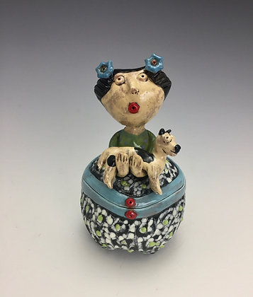 """Puppy Love"" - SOLD - Jar with Girl and Puppy"