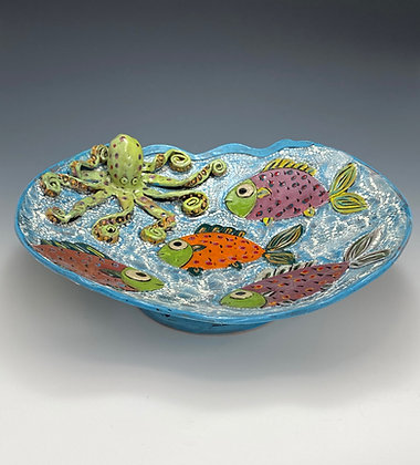"""Under the Sea"", Platter with Octopus and Fish - Artful Home"