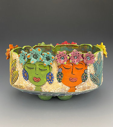 Celebration, Bowl with Girl's Faces and Flowers, Front View, Lilia Venier Ceramics